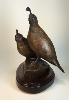 bronze Gambel's quail couple sculpture